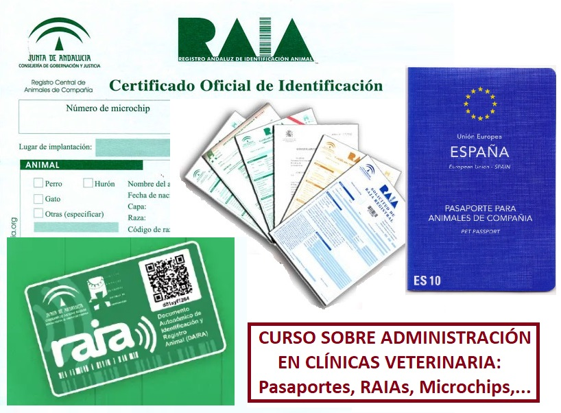 Administración en clínica veterinarias: RAIAs, Pasaportes, Microchips,…